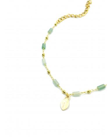 louise bracelet chaîne fine plaqué or et agathe